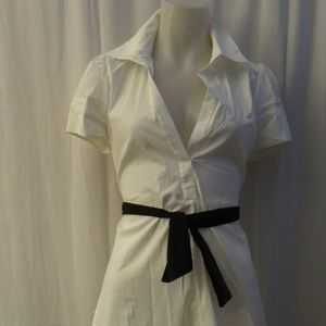 WOMENS BCBG MAXAZRIA WHITE/BLK BELTED BLOUSE  SZ M
